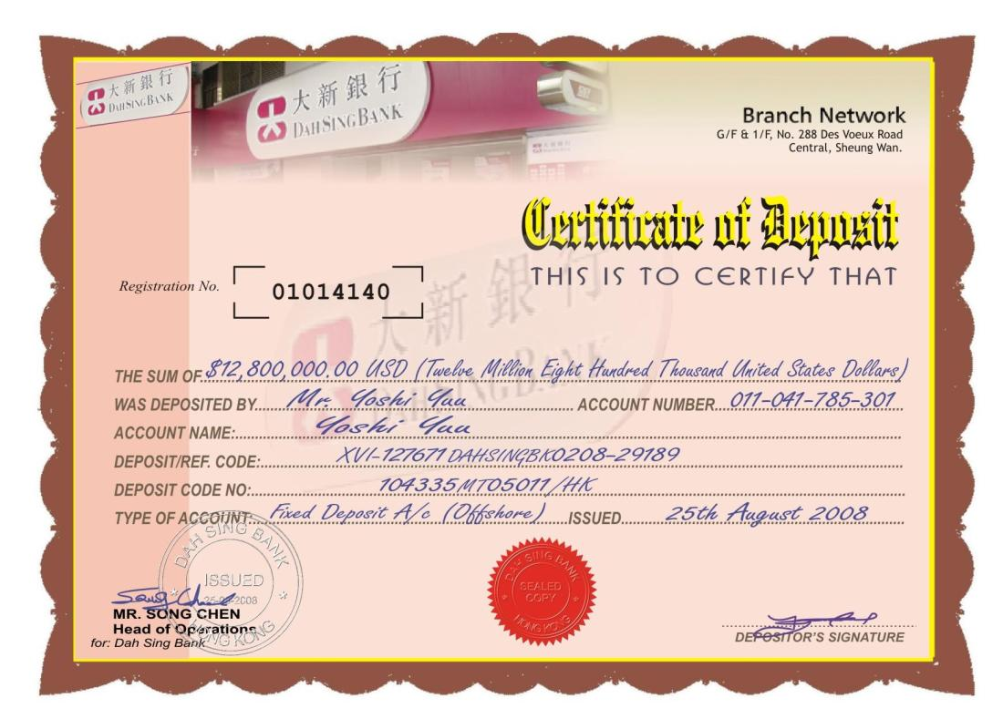 Certifcate of Deposit_Dah Sing Bank